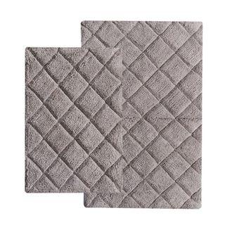 Benzara Impression Chardin Grey Cotton Bath Rug Set (Set of 2)