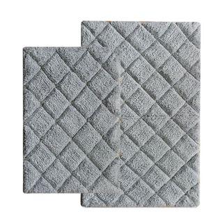 Benzara Grey Cotton Bath Rug Set (Set of 2)