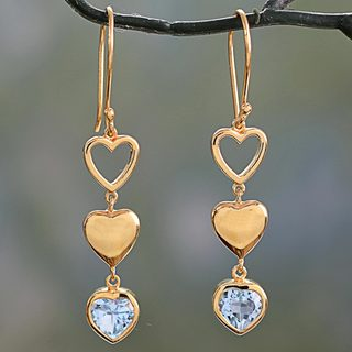 Handcrafted Gold Overlay 'Three Hearts in Harmony' Blue Topaz Earrings (India)