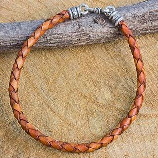 Men's Leather Silver 'Russet Rhythm' Bracelet (Thailand)