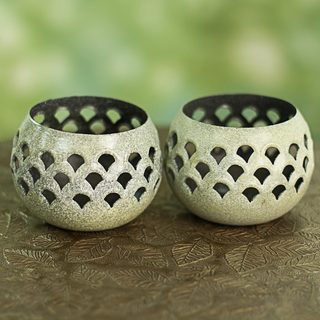 Set of 2 Handcrafted Steel 'Green Jali Lattice' Tealight Holders (India)
