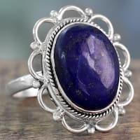 Handmade Sterling Silver 'Floral Jaipur' Lapis Lazuli Ring (India)