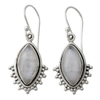 Handmade Sterling Silver 'Radiant Gaze' Rainbow Moonstone Earrings (India)