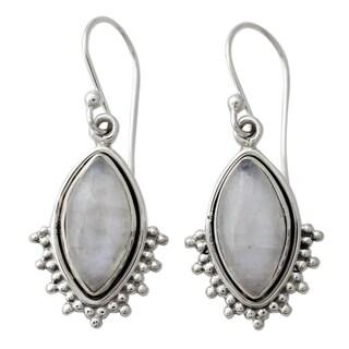 Handmade Sterling Silver 'Radiant Gaze' Rainbow Moonstone Earrings (India)