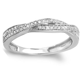 14k Gold 1/4ct TDW Round Diamond Anniversary Wedding Band Swirl Matching Ring (I-J, I2-I3)
