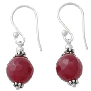 Handmade Sterling Silver 'Glorious Red' Agate Earrings (India)