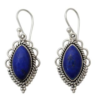 Handcrafted Sterling Silver 'Indian Ocean' Lapis Lazuli Earrings (India)