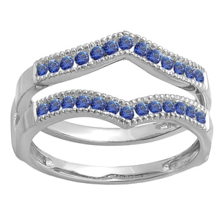 Ladies' 14k White Gold 1/2-carat Round-cut Blue Sapphire Millgrain Wedding Band Guard Double Ring