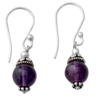 Handmade Sterling Silver 'Royal Discretion' Amethyst Earrings (India)