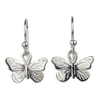 Handmade Sterling Silver 'Monarch Butterfly' Earrings (Mexico)