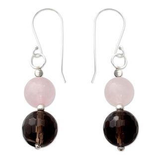 Handcrafted Sterling Silver 'Earthy Love' Smoky and Rose Quartz Earrings (India)