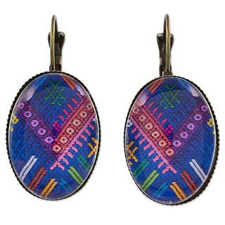 Handcrafted Brass Glass 'Antiqued Chichicastenango Blues' Earrings (Guatemala)