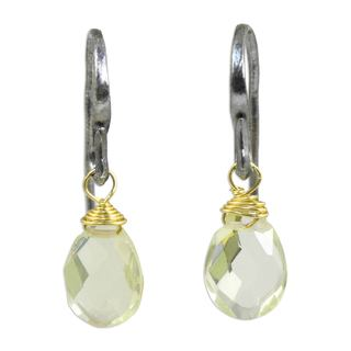 Handcrafted Gold Overlay 'Morning Bright' Quartz Earrings (Thailand)