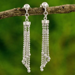 Handcrafted Sterling Silver 'Disco Chimes' Earrings (Thailand)