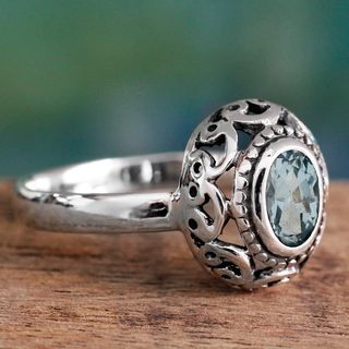 Handcrafted Sterling Silver 'Celestial Bliss' Blue Topaz Ring (India)