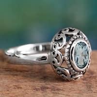 Handmade Sterling Silver 'Celestial Bliss' Blue Topaz Ring (India)