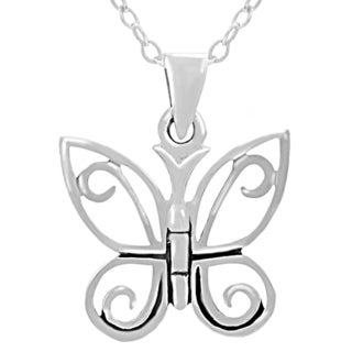 Journee Collection Sterling Silver Butterfly Pendant Necklace