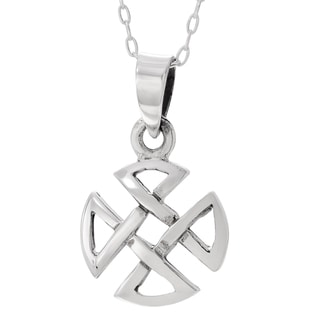 Journee Collection Sterling Silver Circular Celtic Cross Necklace