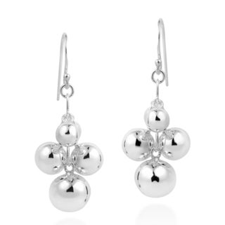 Handmade Modish Cluster Balls Drop Sterling Silver Dangle Earrings (Thailand)