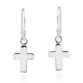 Handmade Everyday Latin Cross .925 Sterling Silver Dangle Earrings (Thailand)