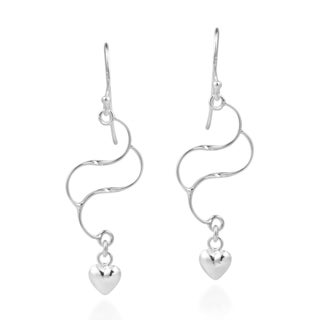 Double S Line Filigree With Tiny Heart 925 Silver Earrings (Thailand)