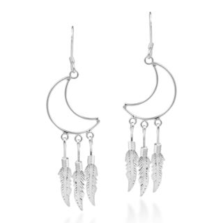 Handmade Crescent Moon Chandelier Feathers 925 Silver Earrings (Thailand)
