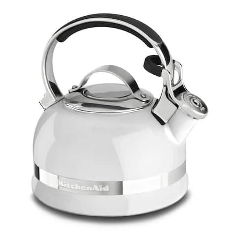 KitchenAid KTEN20SBWH White Stainless Steel 2-quart Kettle With Full Handle and Trim Band