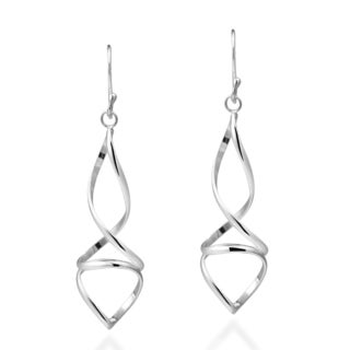 Large Modern Twisted Spiral Sterling Silver Dangle Earrings (Thailand)