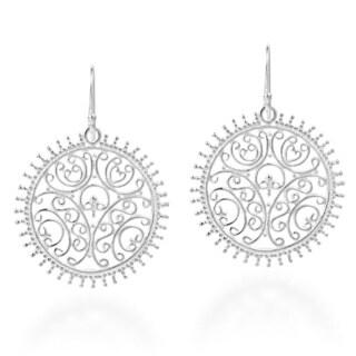 Emanating Filigree Swirls Circle Sterling Silver Earrings (Thailand)