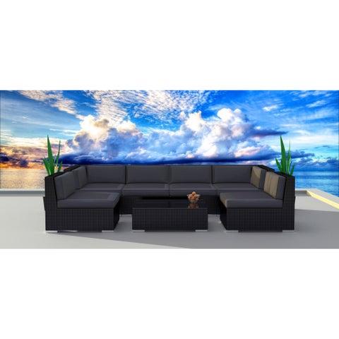 Urban Furnishing Series 7b Black Modern Outdoor Backyard Wicker Rattan Sofa Sectional Couch Set