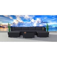 Urban Furnishing Black Series 7a Modern Outdoor Backyard Wicker Rattan Sofa Sectional Couch Set