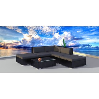 Urban Furnishing Black Wicker/Rattan Outdoor Sofa Sectional