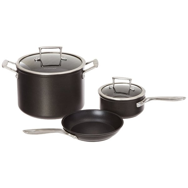 Kitchenaid kch2s5akm black anodized aluminum nonstick 5 piece professional cookware set free - Kitchenaid aluminum nonstick piece cookware set ...