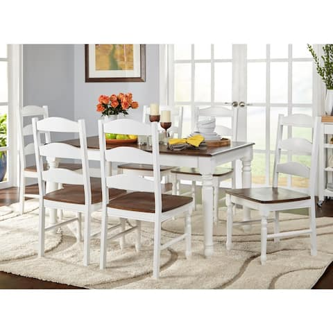 Simple Living Skipton White/ Walnut Wood 7-piece Dining Set