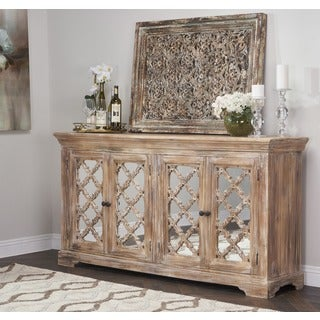 Kosas Home Franklin Rustic Brown Sustainable Plantation Grown Mango Wood Mirrored 4-door Sideboard