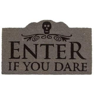 Enter If You Dare Black/Grey Coir Non-slip Doormat