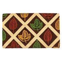 EntryWays Leaf Rubbing Coir Nonslip Doormat