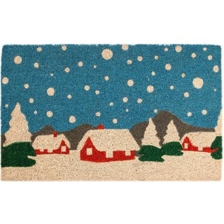 Snowy Village Blue Coir Nonslip Doormat