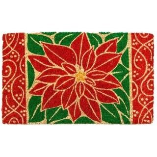 Perfect Poinsettia Coir Hand-woven Doormat