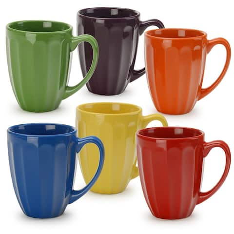 Signature Housewares Assorted Colors Fluted Mugs (Set of 6)