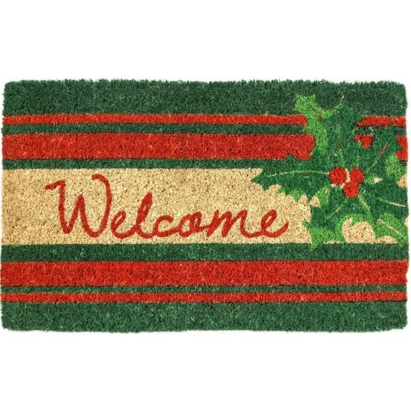 Welcome Holly Red/Green Coir Hand-woven Doormat