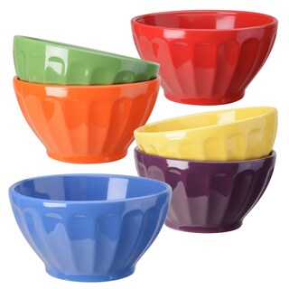 Signature Housewares Stoneware Fluted Bowls (Pack of 6)