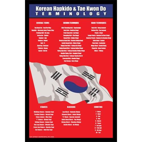 Korean Hapkido and Taekwondo Terminology 11-inch x 17-inch Display Wall Plaque