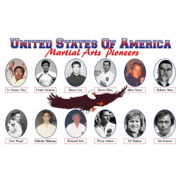 USA Martial Arts Pioneers 11-inch x 17-inch Wall Plaque