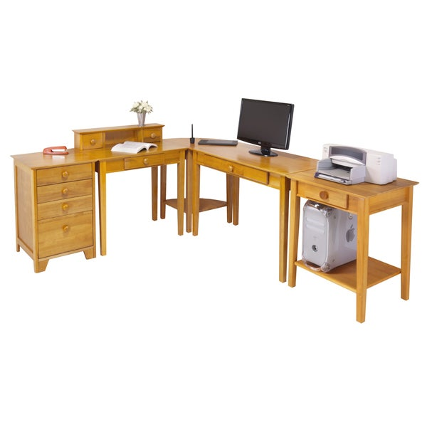 Home Office Set with Pull Out Keyboard Tray - 18881265 - Overstock