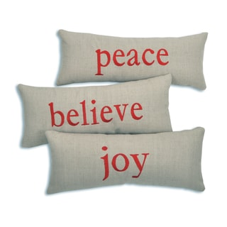 Wisdom Believe, Joy and Peace Red Embroidery Burlap 6-inch x 14-inch Throw Pillows (Set of 3)