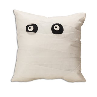 Mummy White Polyester 17-inch x 17-inch Throw Pillow
