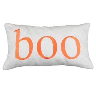 'Boo' Natural Linen 12.5-inch x 25-inch Throw Pillow