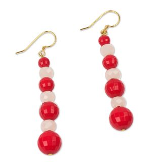 Handcrafted Recycled Plastic 'Eco Red and White' Earrings (Ghana)