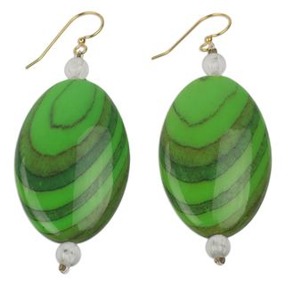 Handcrafted Upcycled Plastic 'Rustic Love in Green' Earrings (Ghana)